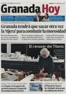 TITANIC:The Reconstruction. Foto de portada en prensa de Tarragona.