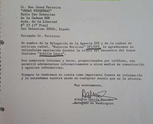 Carta de reconocimiento de la Agencia EFE a Jesús Ferreiro.