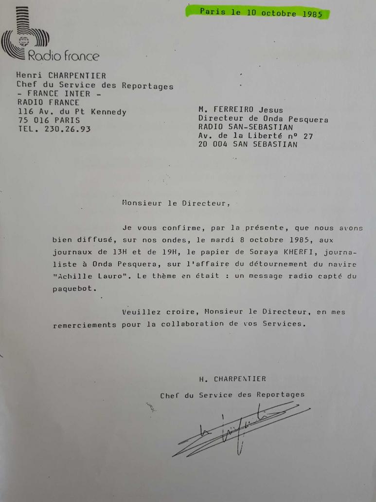 Carta de reconocimiento de Radio France a Jesús Ferreiro.