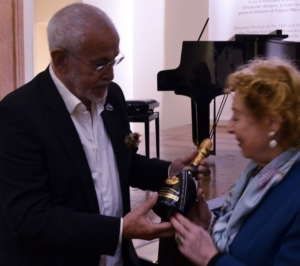 Delivery of a bottle of the special edition of champagne from the Titanic (Bodegas Henri Abelé), to Guillermo Marconi's daughter, Princess Elettra Marconi by Jesús Ferreiro. Bologna, 2016