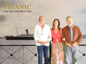 Pedro Bonet, Presidente de Henri Abelé, su esposa Lourdes Galdeano, y Jesús Ferreiro, Presidente de la Fundación Titanic. Tarragona, 2016.
