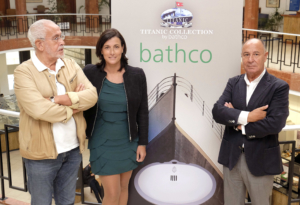 International presentation of the replica of the Titanic toilets by the Bathco company, with the presence of the Tourism Councillor, Gema Igual, José López Cortés, President of Bathco and Jesús Ferreiro Rúa, President of the Titanic Foundation. Santander City Council, Santander, 2015.