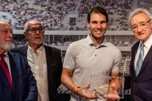 Appointment of Rafael Nadal as Honorary Patron of the Titanic Foundation. Rafael Nadal, Luis del Olmo, Enrique López Veiga and Jesús Ferreiro. Rafa Nadal Sports Centre. Manacor, 2019.