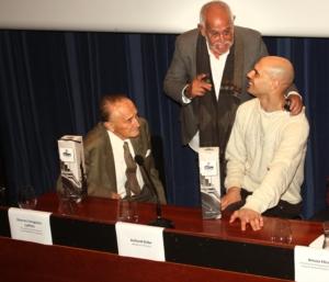 Encuentro en el Oceanográfico de San Sebastián Vicente Zaragúeta, Jesús Ferreiro y Richard Oribe. San Sebastián, 2012.